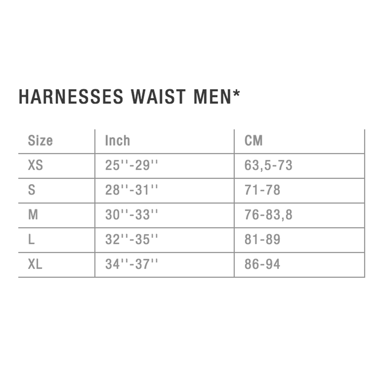 sizechart harness men