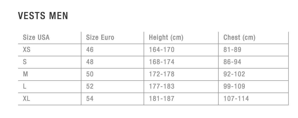 sizechart vests men