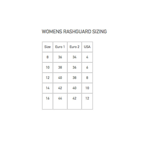 womens rusguard sizechart